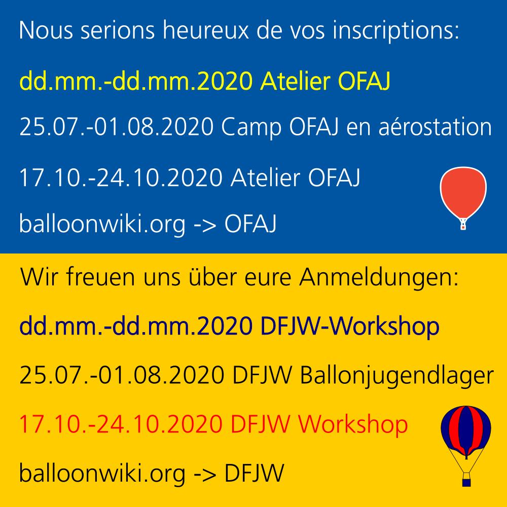Webposter Termine DFJW Ballonaktiviitäten 2020