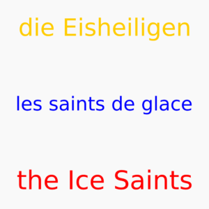 Das Bild zeigt folgende Wörter: die Eisheiligen - les saints de glace - the Ice Saints.